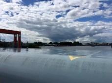 Blick vom Sperrwerk zur Elbe