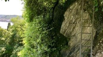 Leiter am Fels auf dem Mittelrhein-Klettersteig