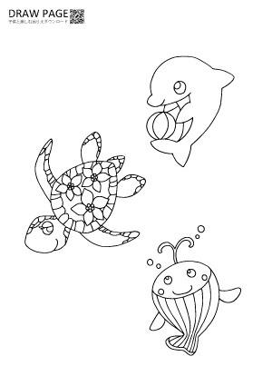 海の生き物の塗り絵 無料 子供大人高齢者まで三世代で楽しめる A4