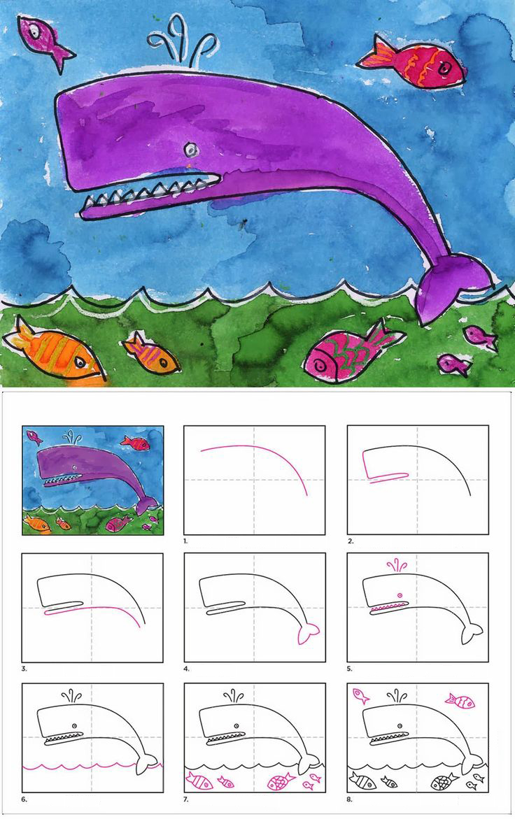 تعلم رسم الحوت والأسماك