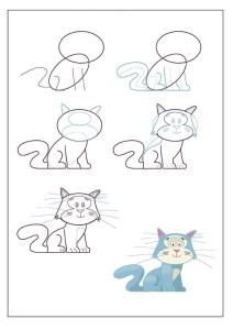 تعلم رسم قطة مع التلوين