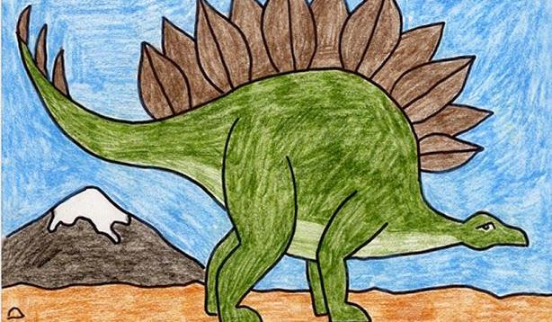 كيف ارسم ديناصور ضخم