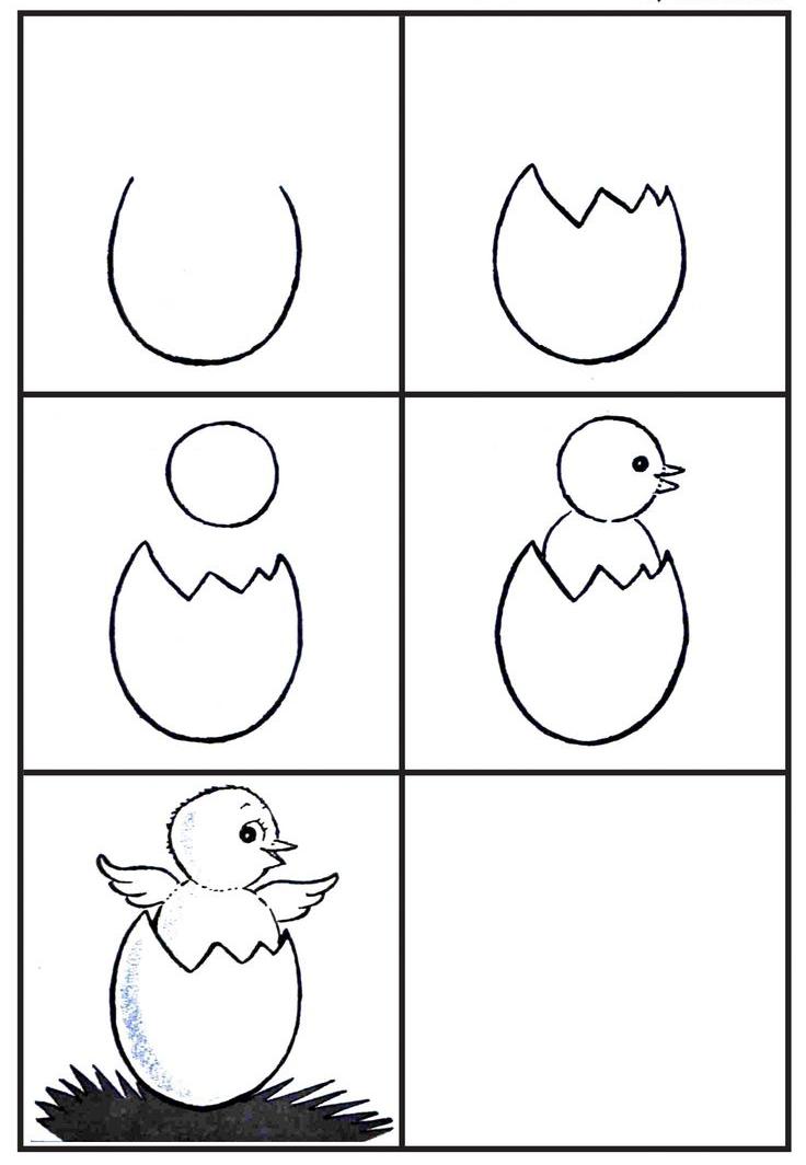 تعلم رسم صوص داخل البيضة