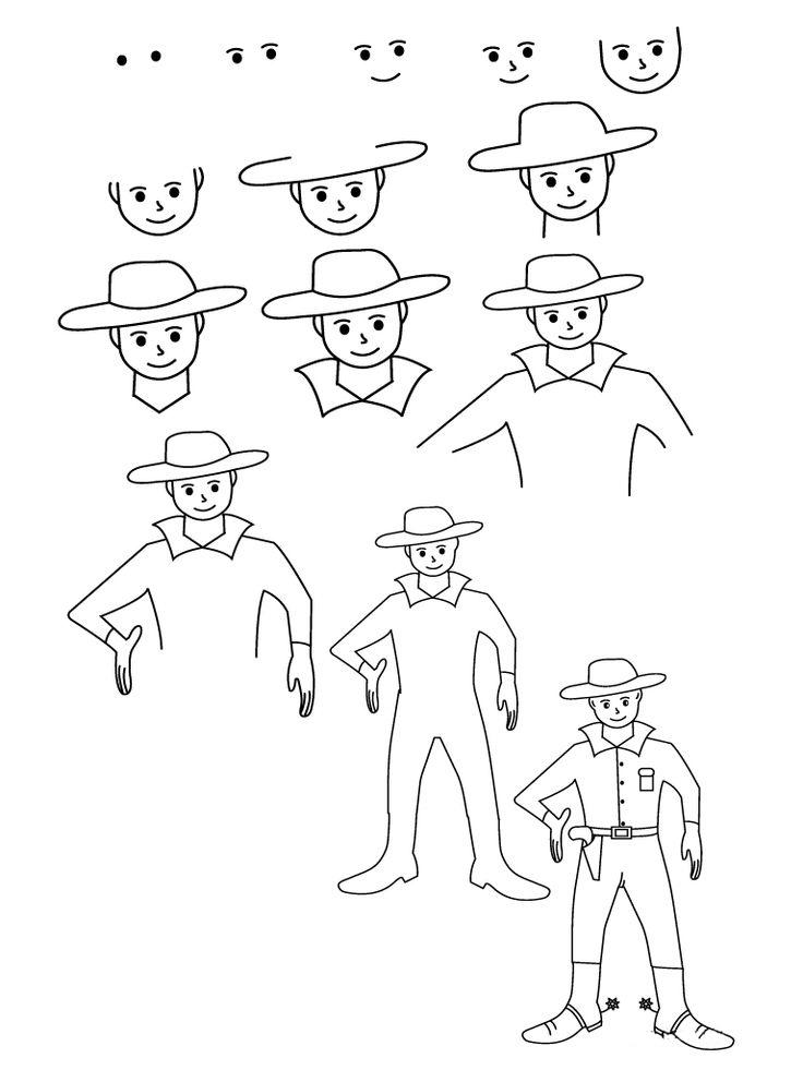 تعلم رسم كاوبوي
