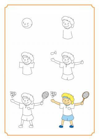 تعلم رسم لاعب ريشة