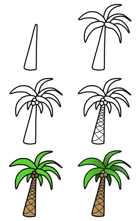 تعليم رسم شجرة نخيل