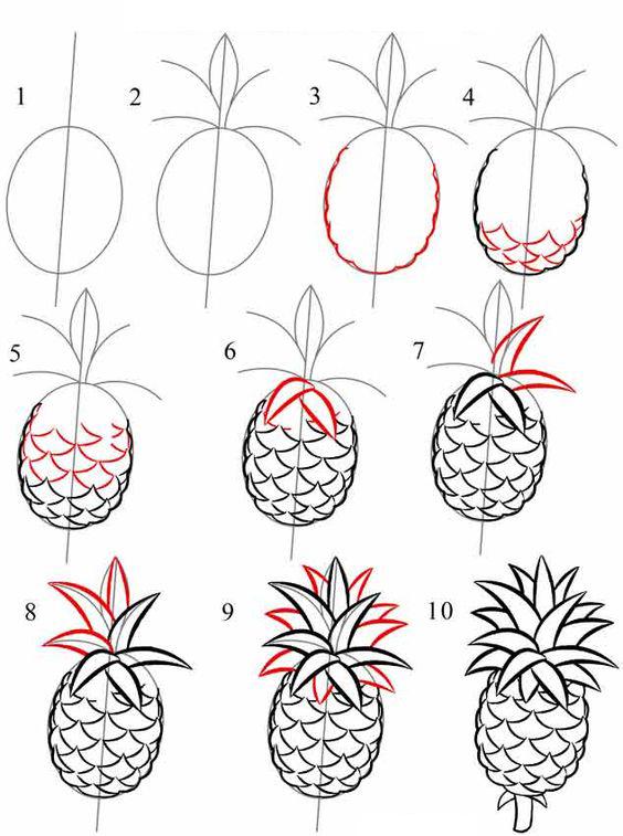 تعلم رسم فاكهة الأناناس