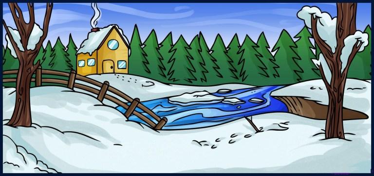 تعلم رسم مشهد من فص الشتاء