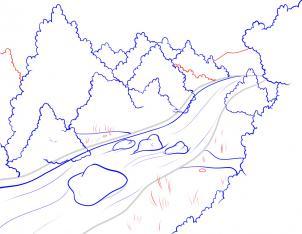طريقة رسم مجرى نهر