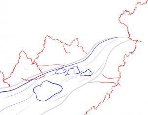 كيفية رسم مجرى نهر