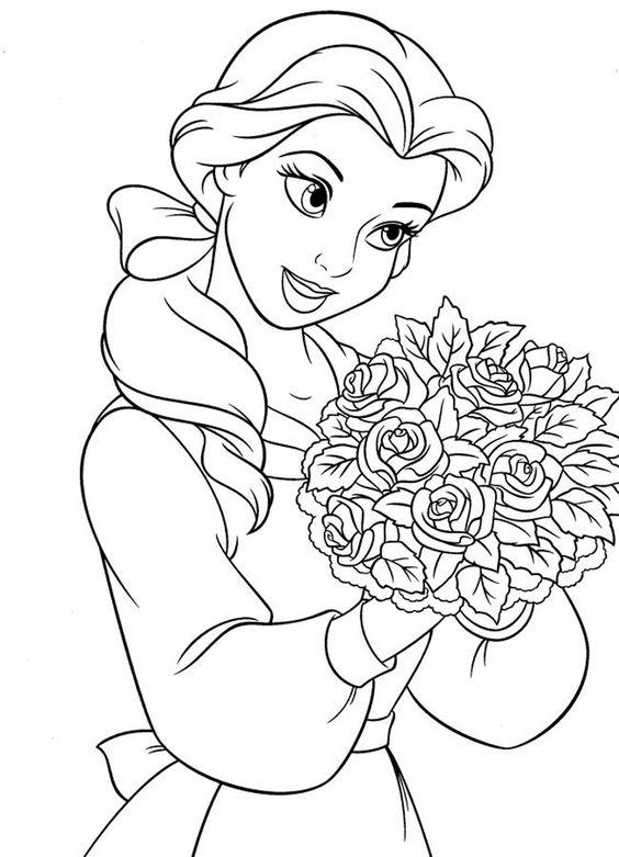 تلوين صورة فتاة تحمل باقة زهور