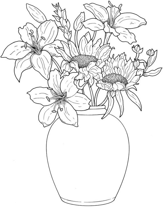 مزهرية للتلوين تعلم الرسم Pots Color Drawing