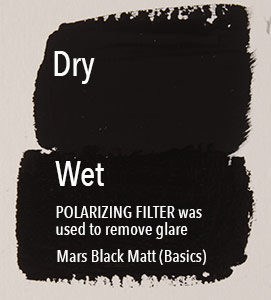 Glare causes matte acrylics to appear lighter.