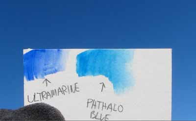 Ultramarine and Phthalo compared to a Blue sky