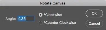 Photoshop rotate canvas dialog box