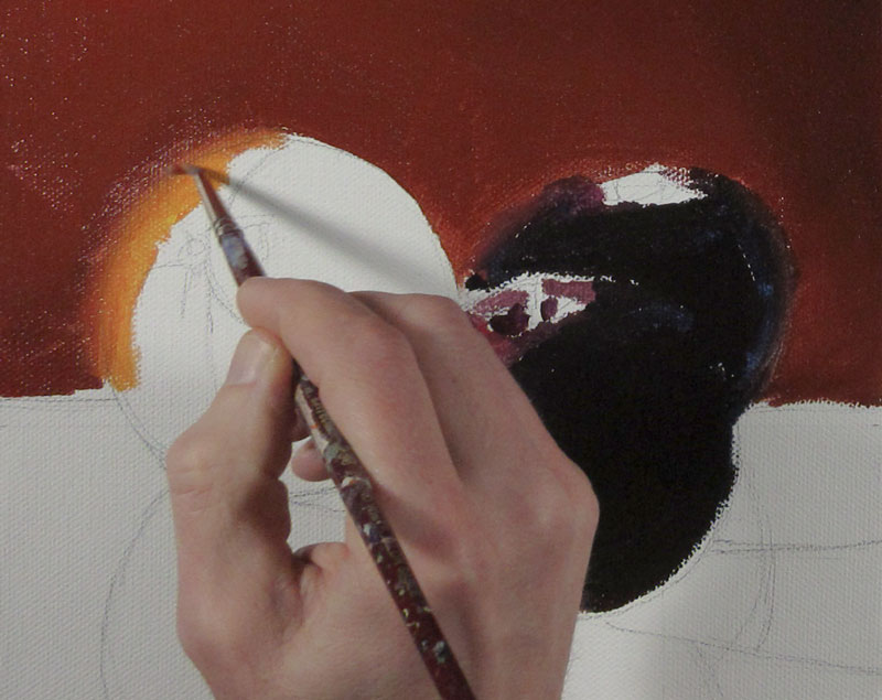 Creating soft edges with acrylic paint