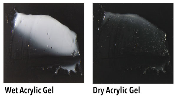 Acrylic gel is white when it's wet but it dries clear