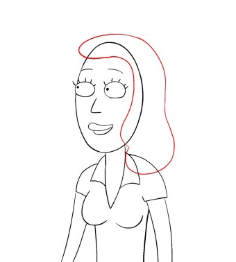 How To Draw Beth Rick And Morty Step 8