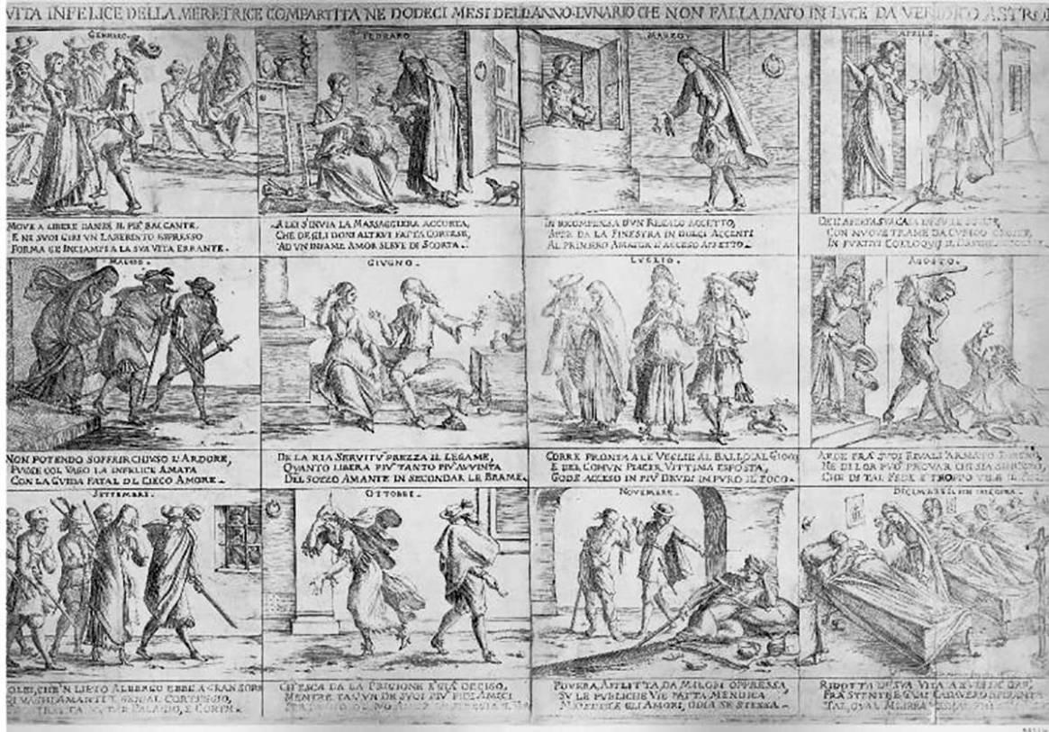 Mitelli, <i>La vita infelice della meretrice compartita ne dodeci mesi dell'anno</i> (1692)