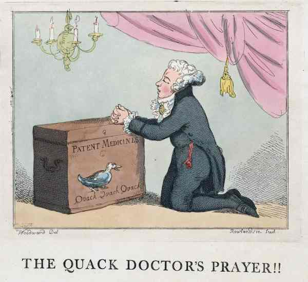 Fig. 18: Thomas Rowlandson, The Quack Doctor's Prayer (1801). Here the aspiring young quack prays for guidance to the shade of Dr. Rock, a quarter century after his demise.