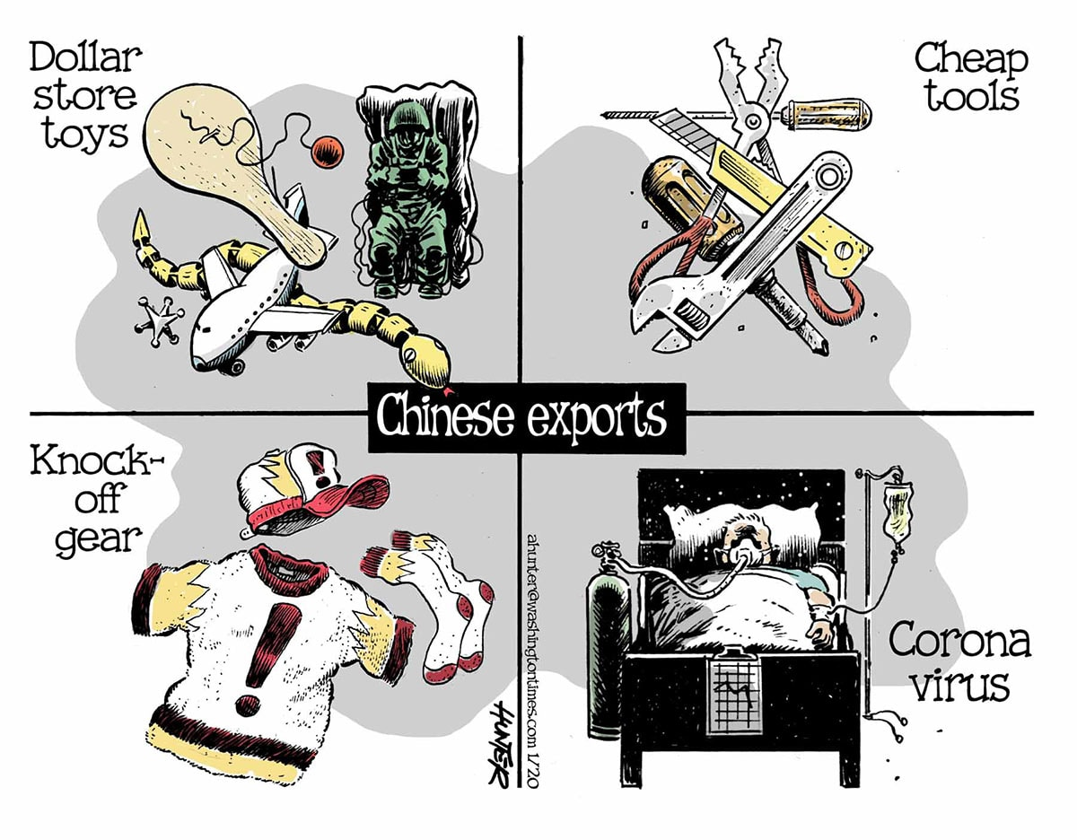 Chinese exports (Illustration by Alexander Hunter for The Washington Times)