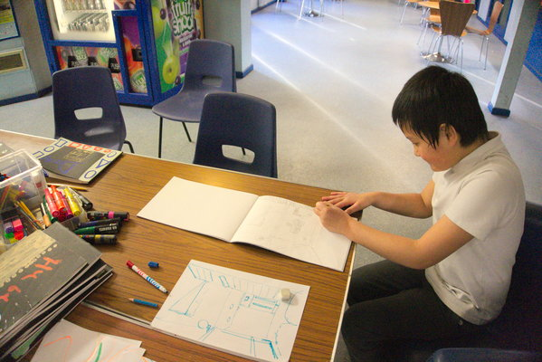 Drawing the community centre, with some dragons - children's spring art group at North United Communities