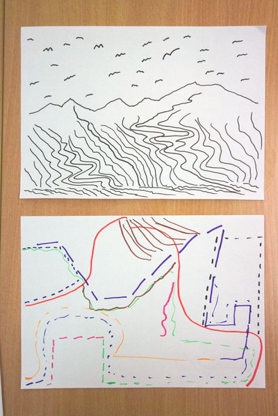 The flow of water moving along the river, the curving lines of gliding birds, patterns in rocks - Maryhill art group