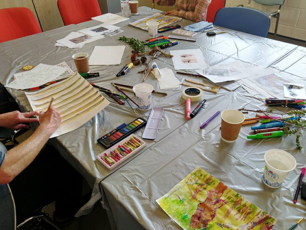 Having fun with mixed media and paints at Clydebank art group