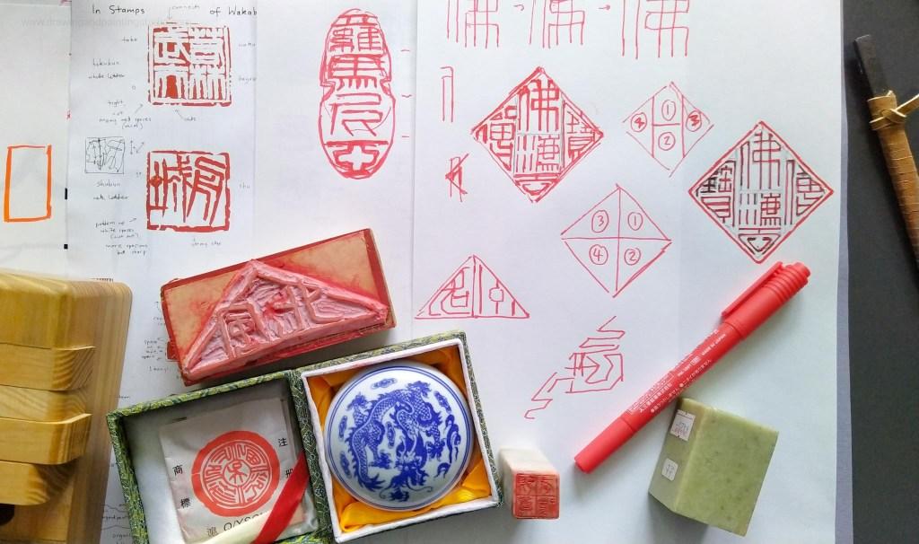 Diamonds and ovals - Tenkoku stamp making