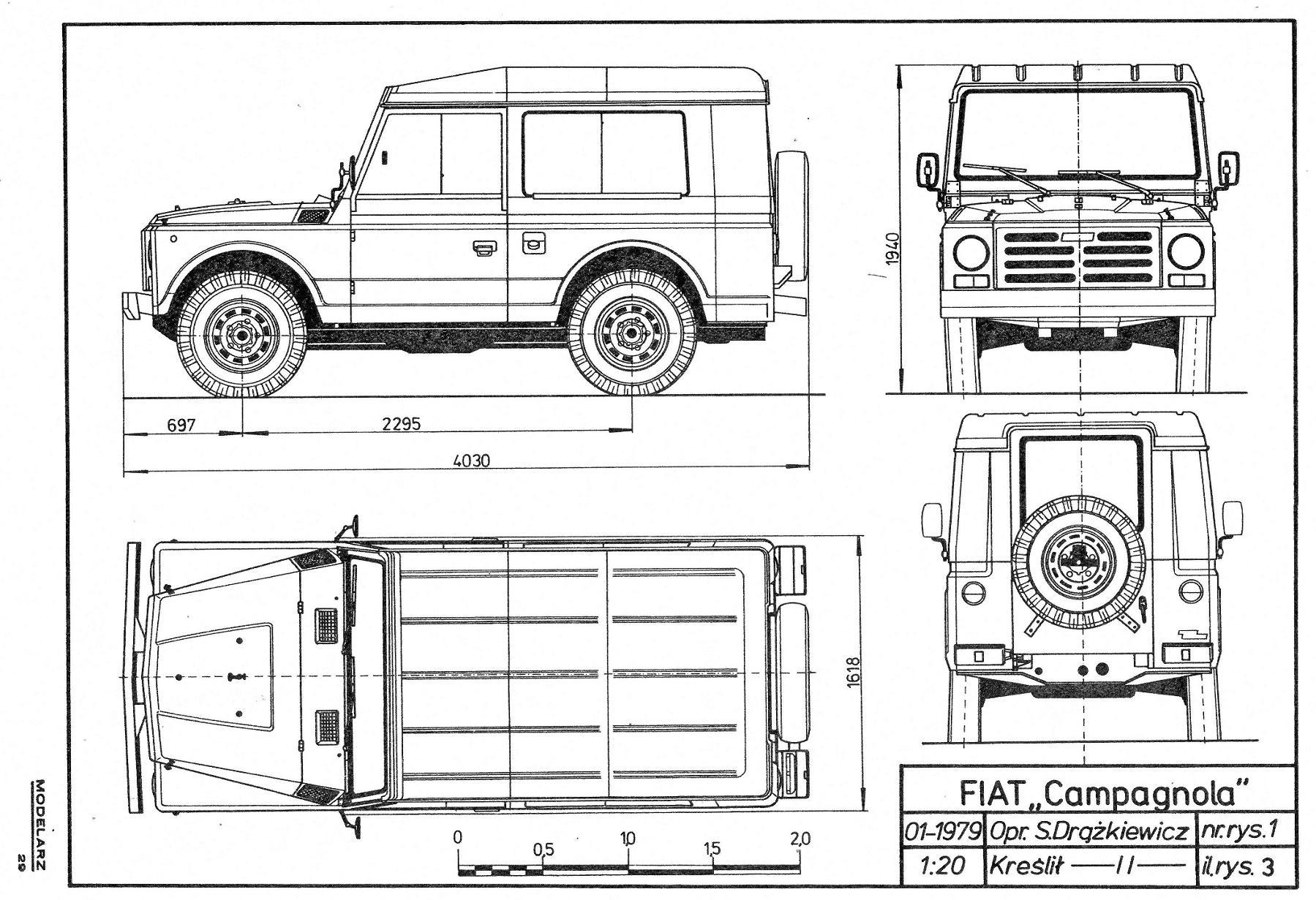 Fiat Nuova Campagnola Blueprint