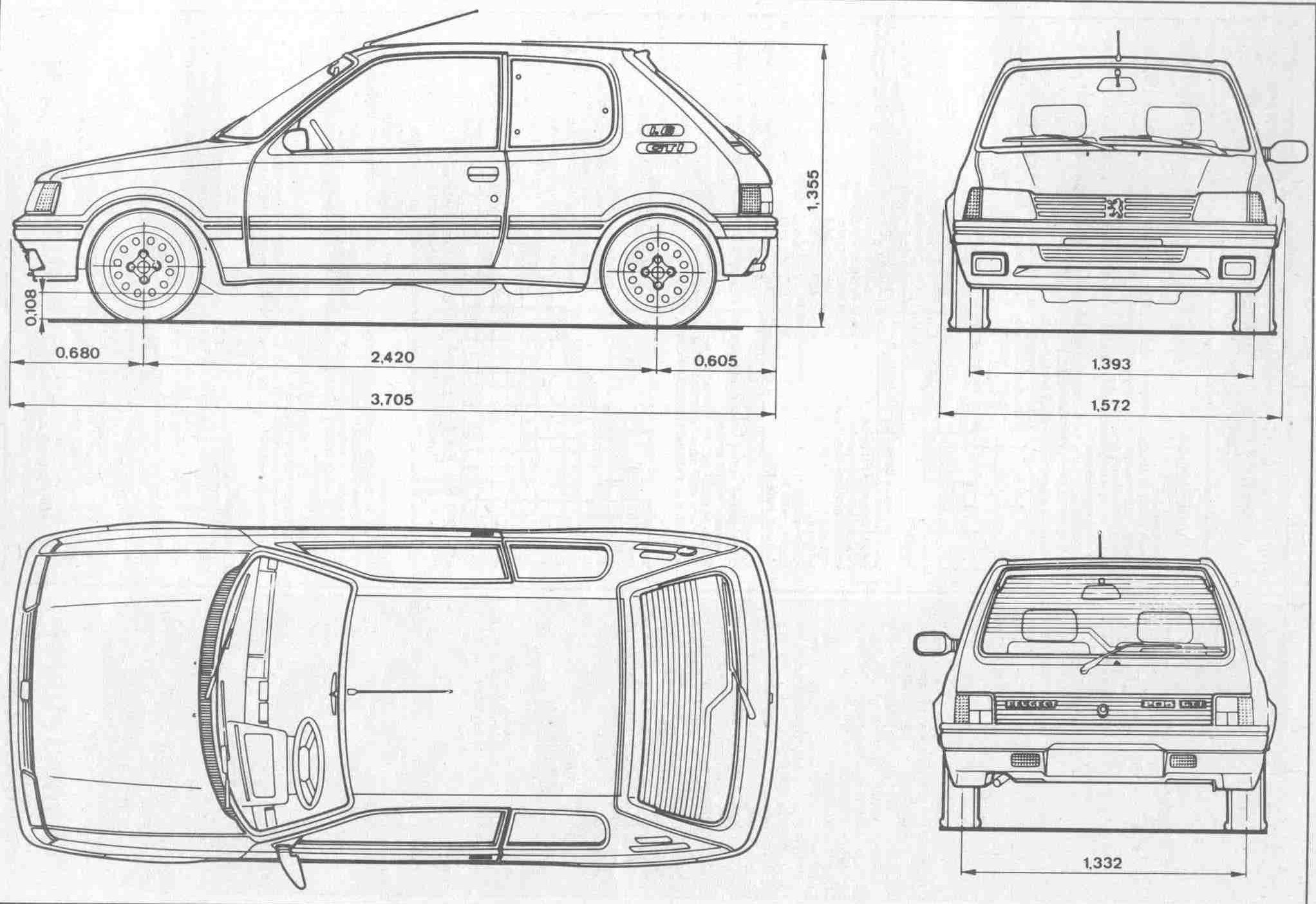 Peugeot 205 Blueprint