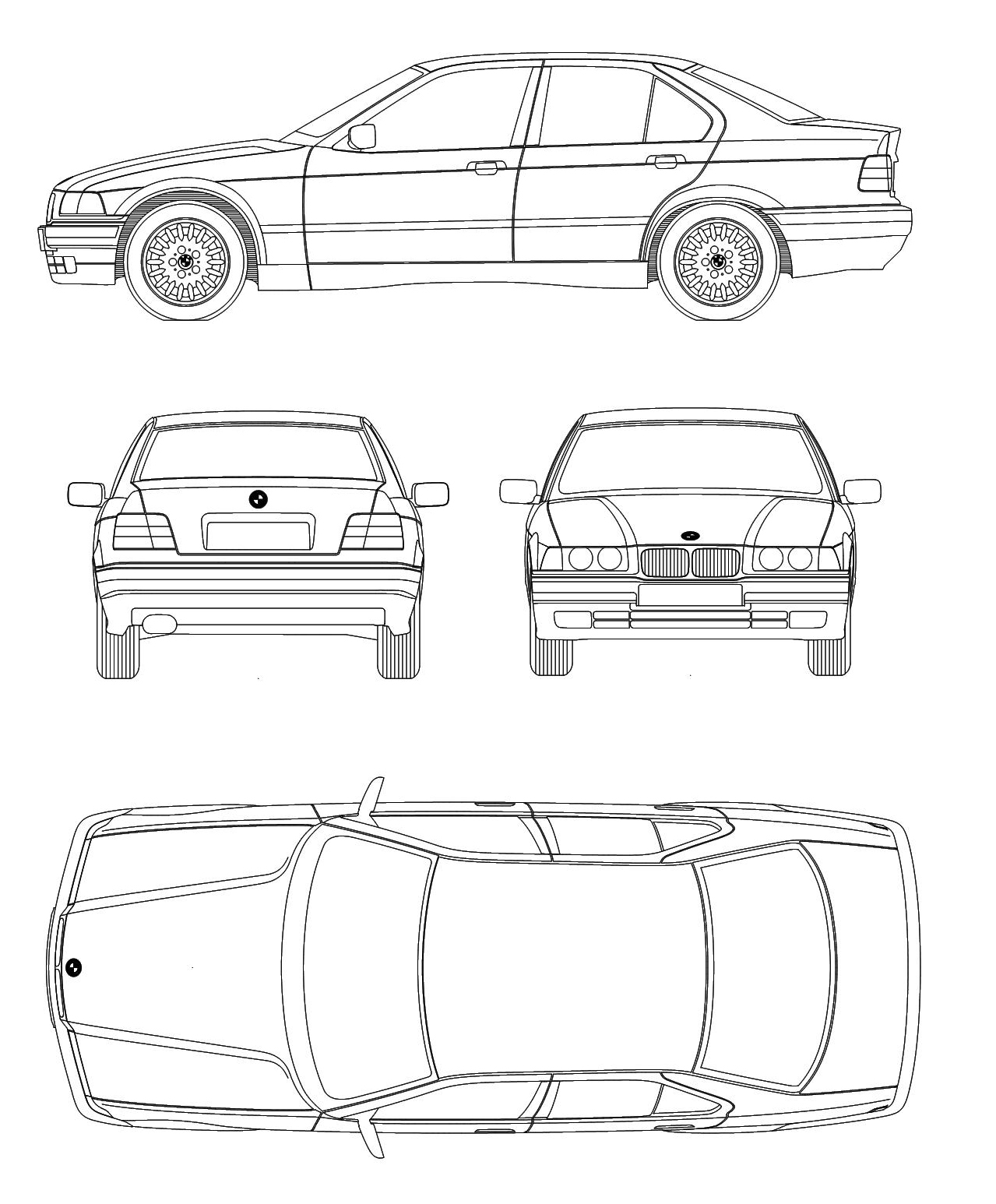 Bmw 3 Series E36 Blueprint