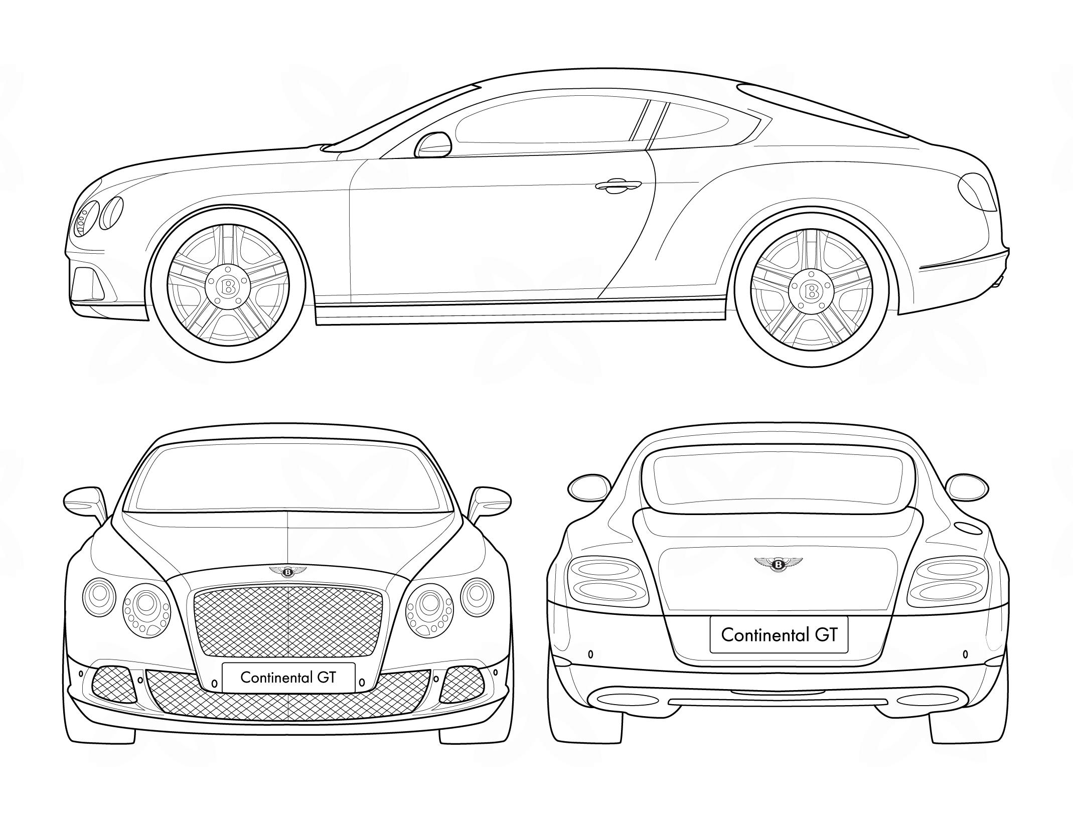 Bentley Continental Gt Blueprint