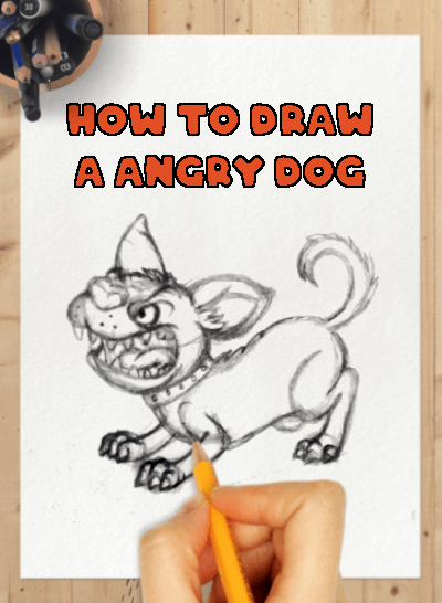 How to draw a angry dog