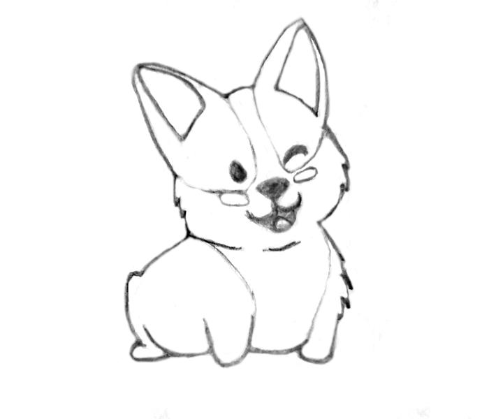 how to draw a kawaii dog-outline