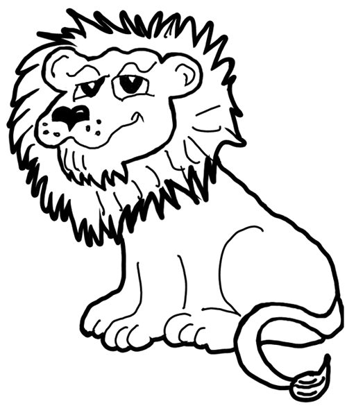 the above picture of a cartoon lion is what we will be drawing step by