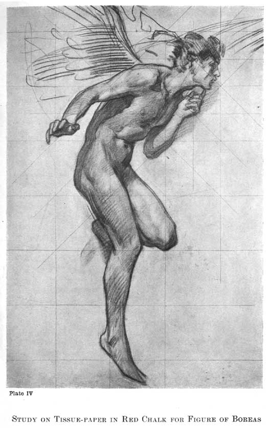 Harold Speed red chalk drawing of figure of Boreas