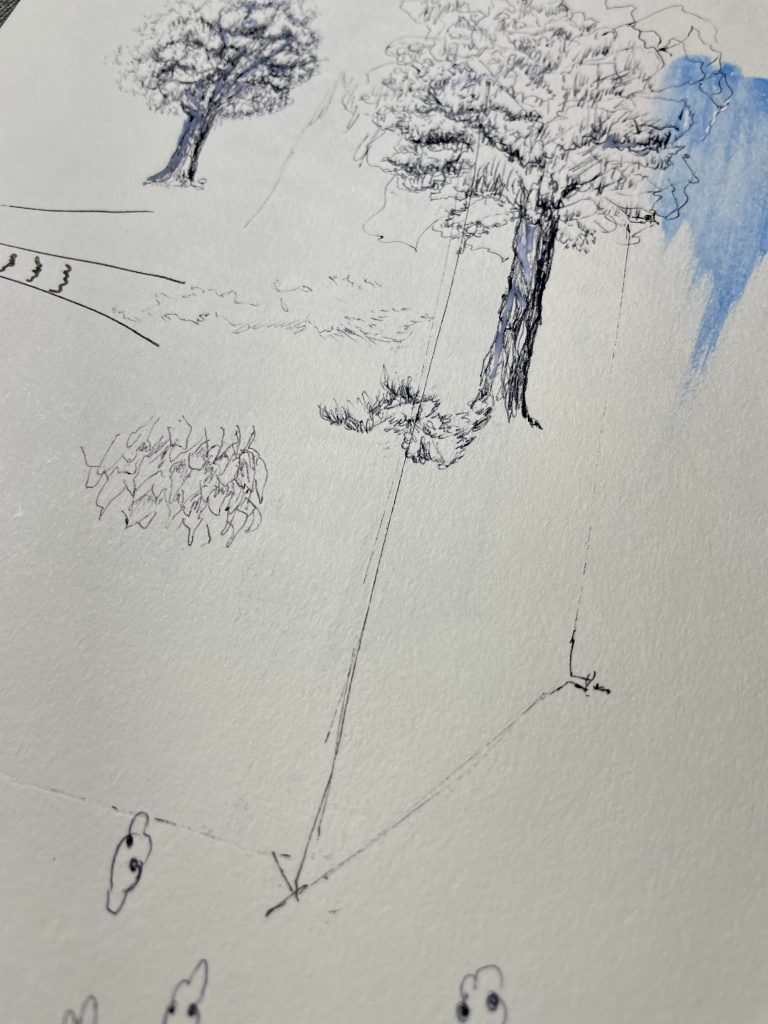 unfinished sketches trees