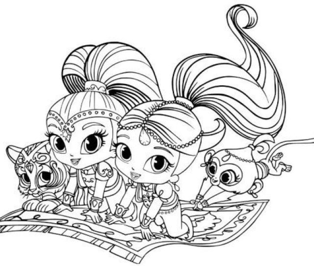 Shimmer And Shine Coloring Pages Tiger And Monk Drawinginsider