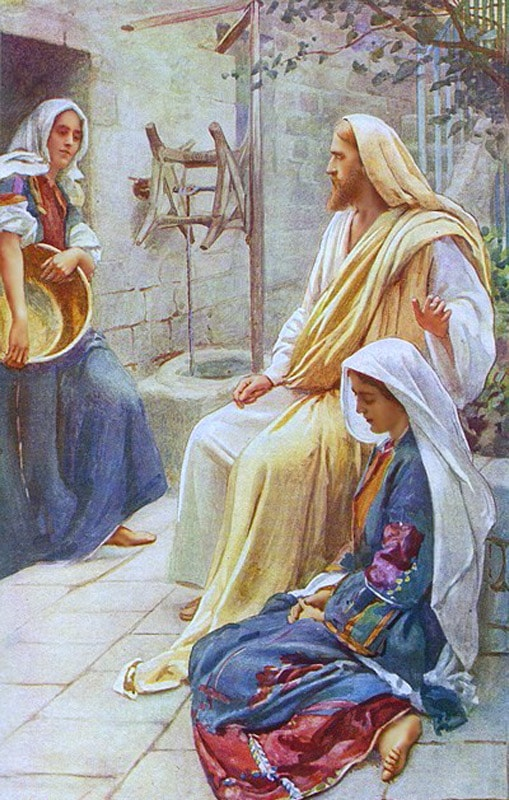 Jesus at the home of Mary and Martha - Harold Copping 1927