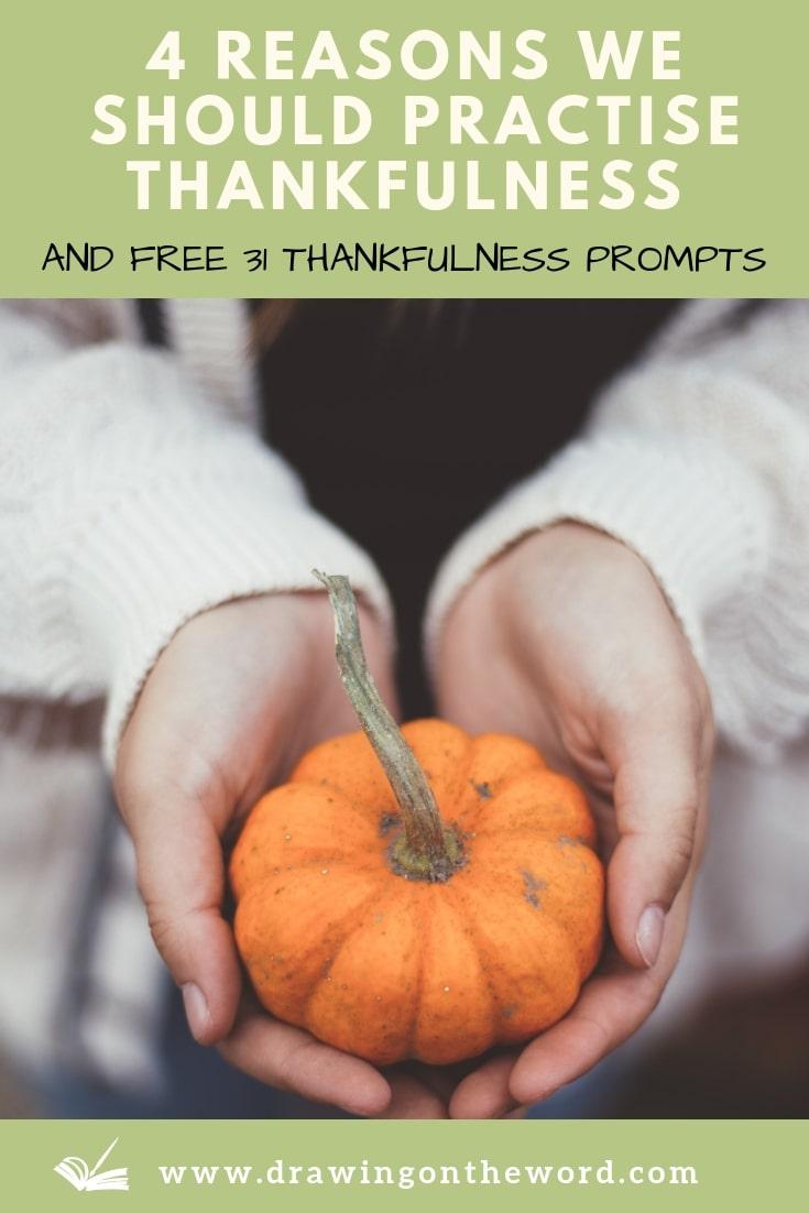 Why should we practise thankfulness towards God as a habit? Here are 4 reasons for doing so, plus a cheat sheet of 31 thankfulness prompts. #thankfulness #gratitude #attitudeofgratitude #thanksgiving #thanks #thankful #bgbg2 #thanksbetogod #givethanks