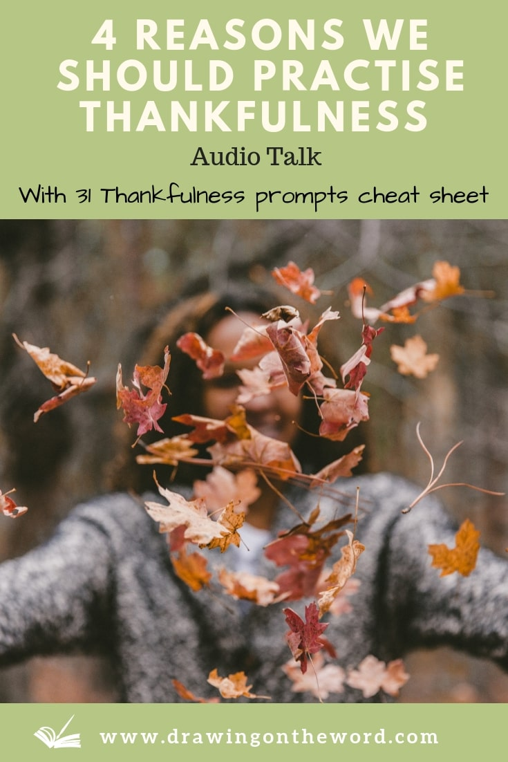 Why should we practise thankfulness towards God as a habit? In this talk I discuss 4 reasons for doing so. Includes a free cheat sheet of 31 thankfulness prompts. #thankfulness #gratitude #attitudeofgratitude #thanksgiving #thanks #thankful #bgbg2 #thanksbetogod #givethanks