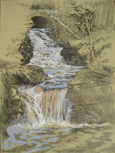 "Doane's Falls. Plein air graphite/pastel 22""x30"""