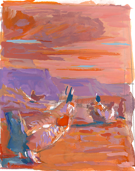"""Color thumbnail rough; this measures 2 1/2""""x3 1/2"""" and is painted very loosely in gouache on paper."""