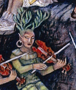 "Antlers or branches? Daphne plays the fiddle. Detail from ""Symphony on the Mountain"" by Frances Spencer"