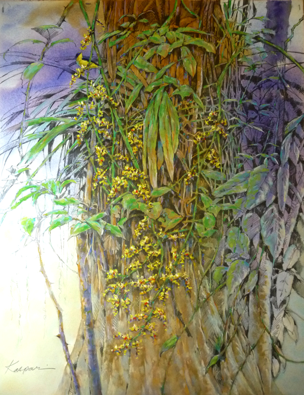 "Oncidium Orchid with Thick-billed Euphonia; 27"" x 35"" mixed media"