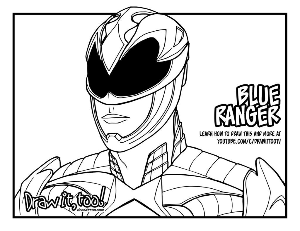 black ranger power rangers movie coloring page