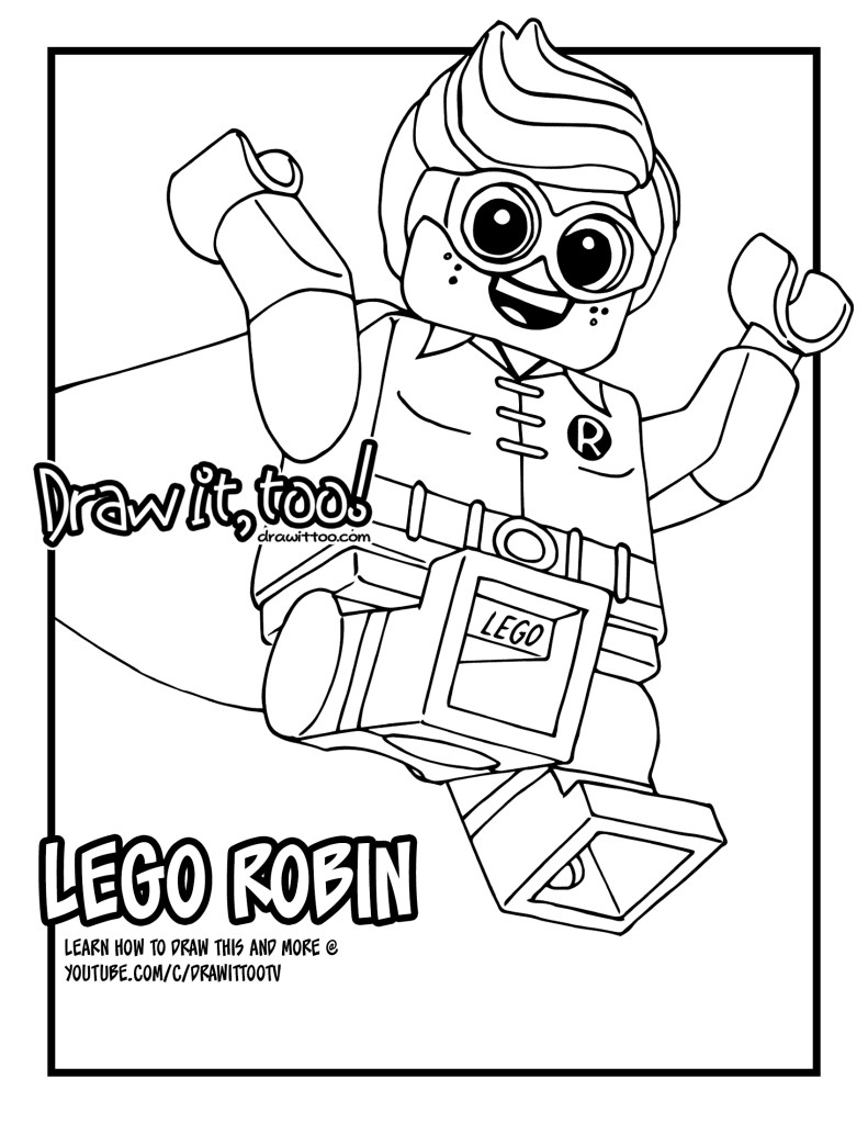 Lego robin the lego batman movie draw it too for Lego movie coloring pages