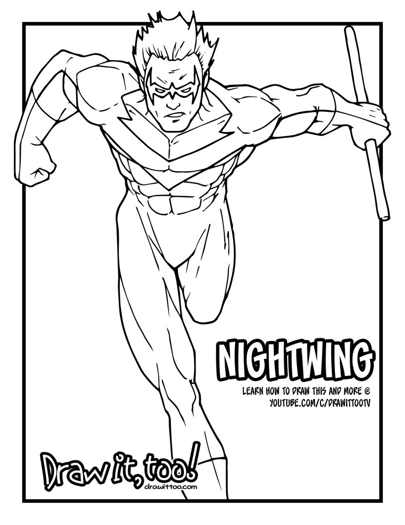 Nightwing (Classic Comic Version) Tutorial | Draw it, Too!