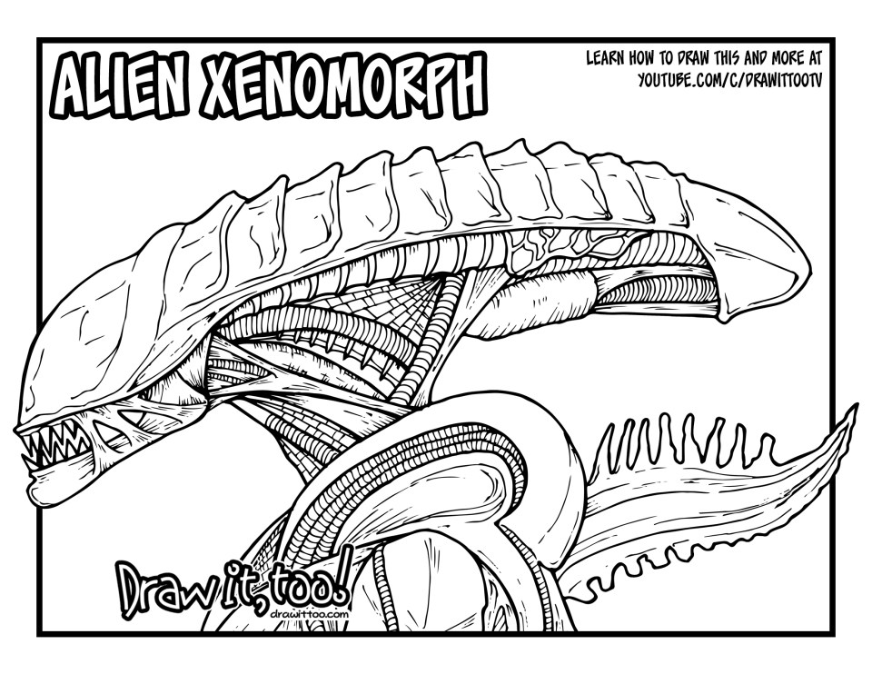 Alien xenomorph alien movie franchise drawing tutorial for Xenomorph coloring pages